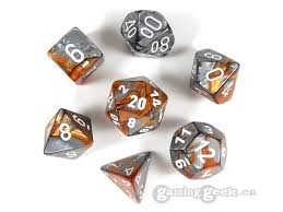 Chessex Chessex Gemini: Poly Set, Copper-Steel/White (7) DICE