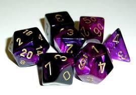Chessex Chessex Gemini Dice: Poly Black Purple/Gold (7)