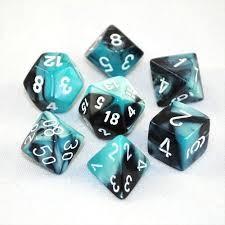 Chessex Chessex Gemini 5: Poly Set, Black Shell/White (7) DICE