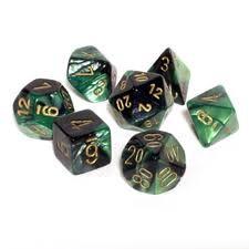 Chessex Chessex Gemini: Poly Set, Black-Green/Gold (7) DICE