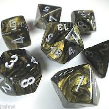 Chessex Chessex Leaf:  Black Gold/Silver (7)DICE
