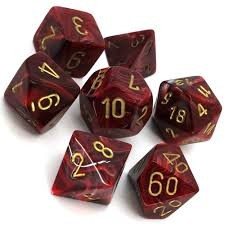 Chessex Chessex Vortex: Burgundy/Gold (7) DICE