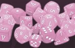Chessex Chessex Frosted: Poly Pink/White (7) DICE