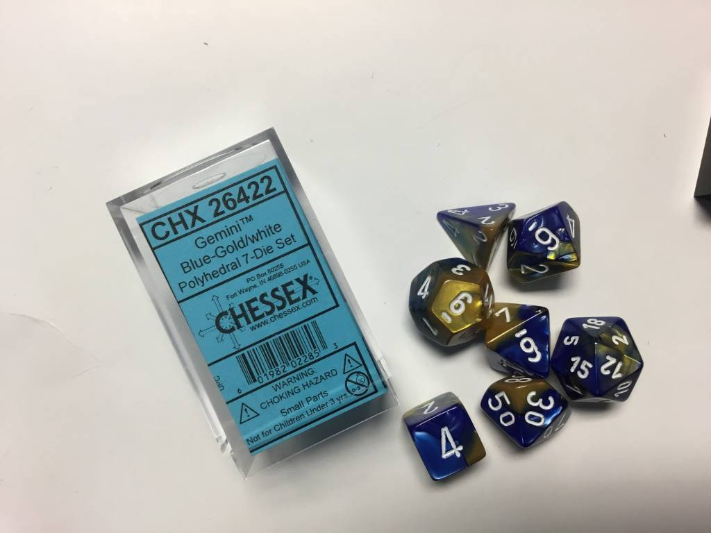 Chessex Chessex Gemini: Poly Set, Blue Gold/White (7) DICE