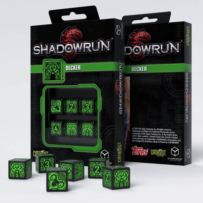 Q workshop Shadorun Decker black green dice set