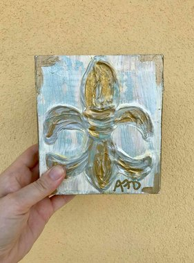 Covered With Paint Gold Fleur de Lis Wall Art, 6x6