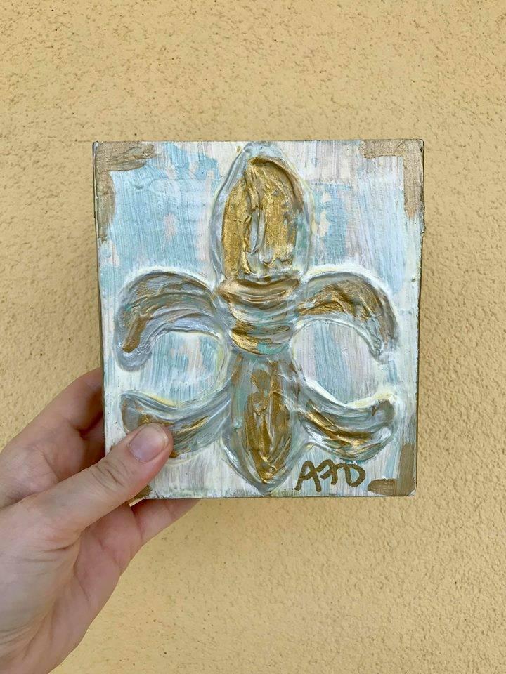 Covered With Paint Gold Fleur de Lis Wall Art, 6x6