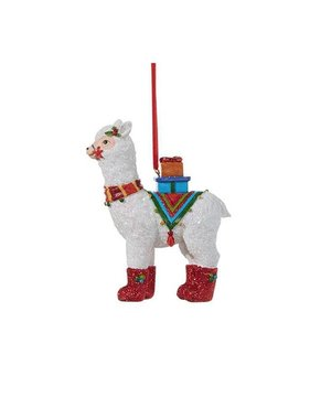 Llama with Holly Ornament
