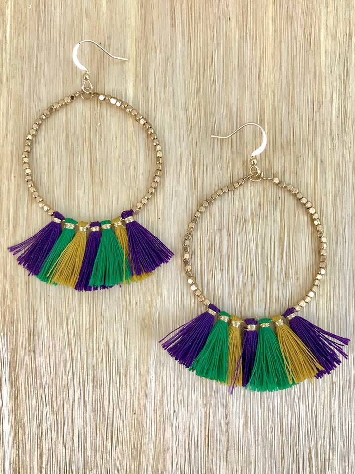 Purple, Green, and Gold Circle Tassel Earrings