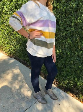Mardi Gras Color Striped Sweatshirt
