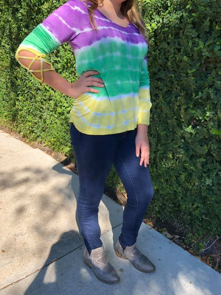Lace up Sleeve Tie Dye Shirt