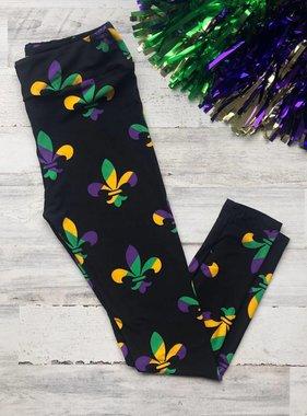 Mardi Gras Stripe Fleur de Lis Leggings, Curvy