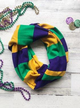 Mardi Gras Bold Stripe Infinity Scarf