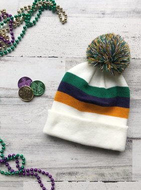 Mardi Gras Color Block Beanie
