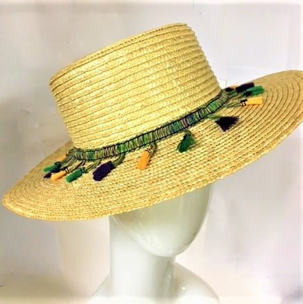 Straw Hat with Mardi Gras Tassels