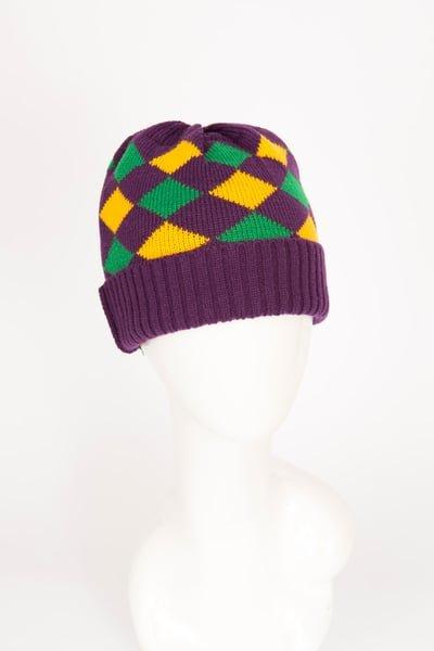 Mardi Gras Harlequin Knit Hat