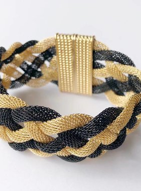 Black & Gold Mesh Braided Magnetic Bracelet