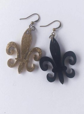 Wood Fleur de Lis Earrings