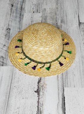 Straw Hat with Mardi Gras Tassels