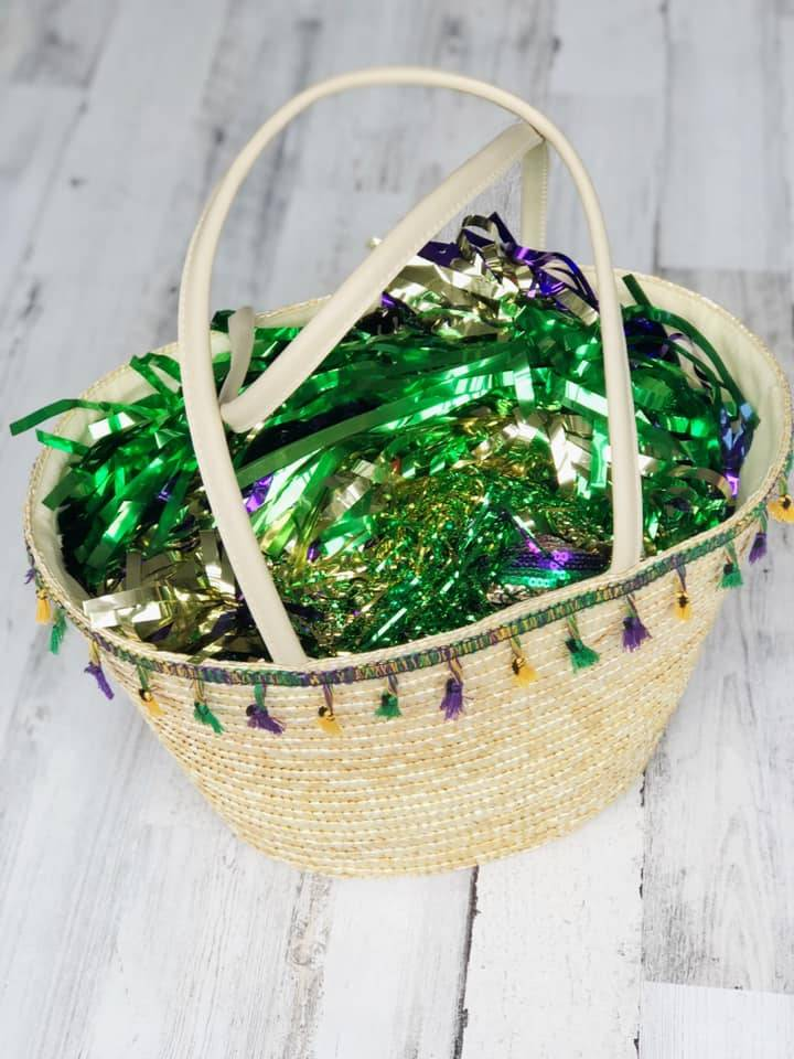 Straw Tote with Mardi Gras Tassels