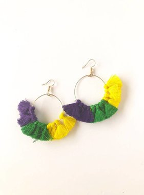 "Mardi Gras Hoop Tassel Earring, 2.5"""