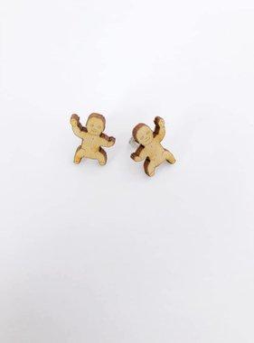 Wood King Cake Baby Earrings