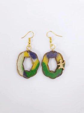Wood King Cake Earrings