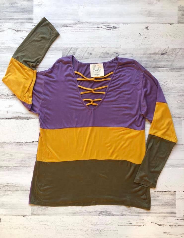 Color Block Cross Strap V-Neck Shirt