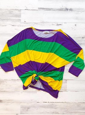 Mardi Gras Stripe Long Sleeve Shirt