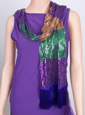 Mardi Gras Sequin Scarf with Fringe