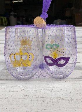 Mardi GrasShatterproof Stemless Wine Glasses