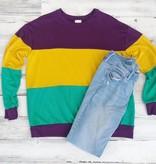 Three Bold Block Knit Mardi Gras Sweatshirt
