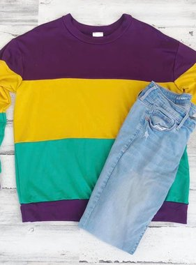 Three Bold Block Knit Mardi Gras Sweatshirt