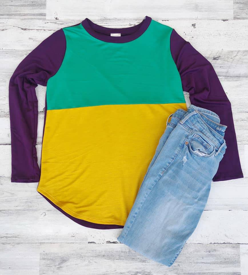 Two Bold Block Knit Mardi Gras Top