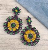 Mardi Gras Small Beaded Circle Earring