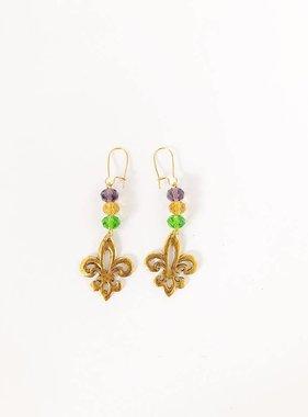 Open Fleur de Lis Earrings, Mardi Gras