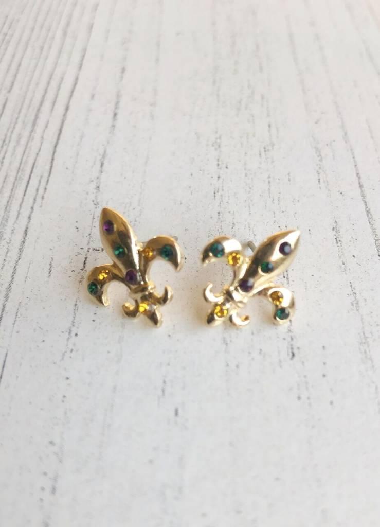 Gold Mardi Gras Earring