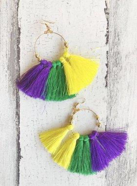 """Mardi Gras Hoop Long Tassel Earring, 1.75"""""""