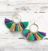 Mardi Gras Gold Hoop Earrings, Long Tassel