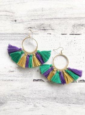 Mardi Gras Gold Hoop Earrings, Long Tassel