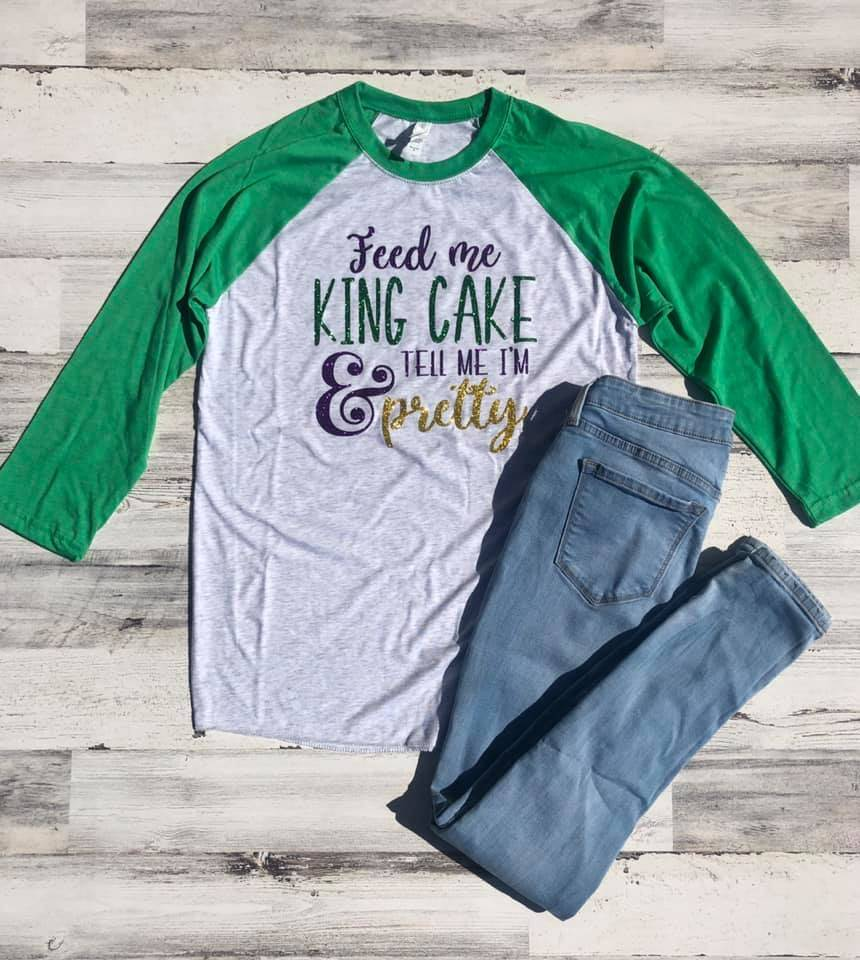 Feed Me King Cake Baseball Tee