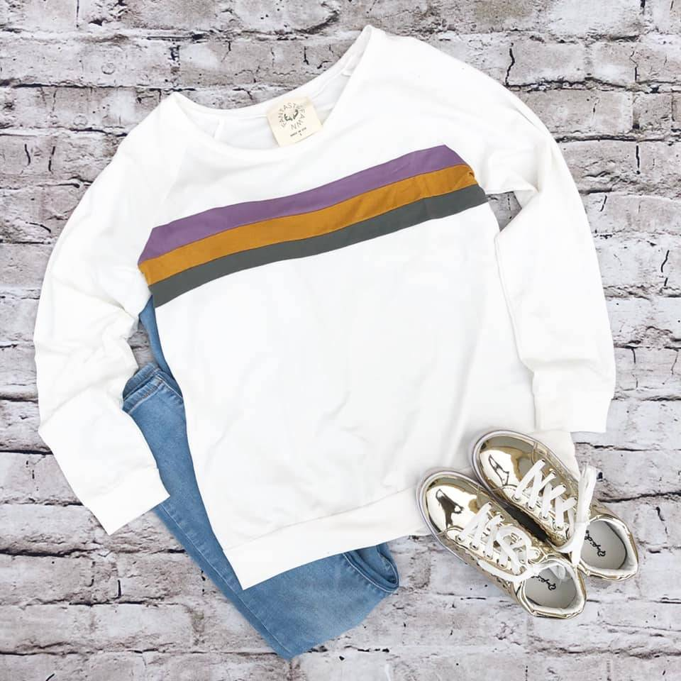 Mardi Gras Color Block Sweatshirt