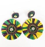 Mardi Gras Round Tassel Earring