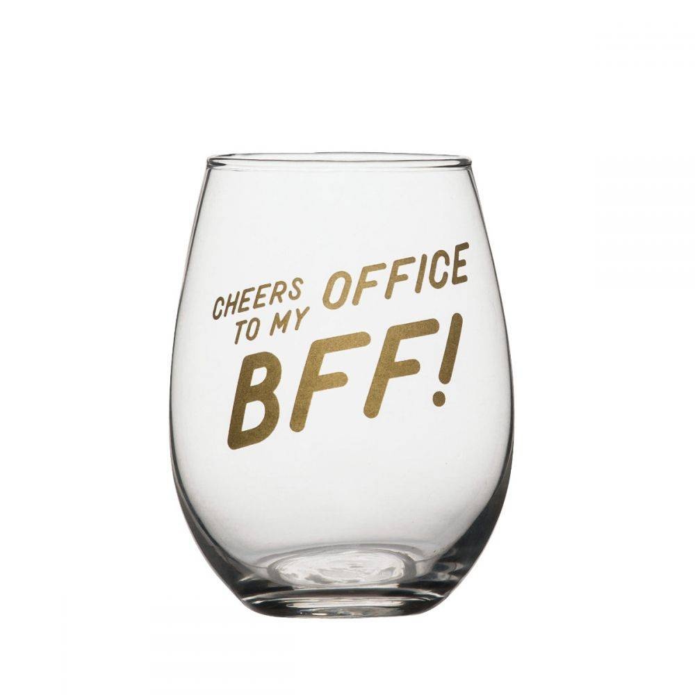 Office BFF Stemless Wine Glass