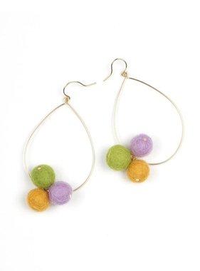 Mardi Gras Pom Pom Earrings