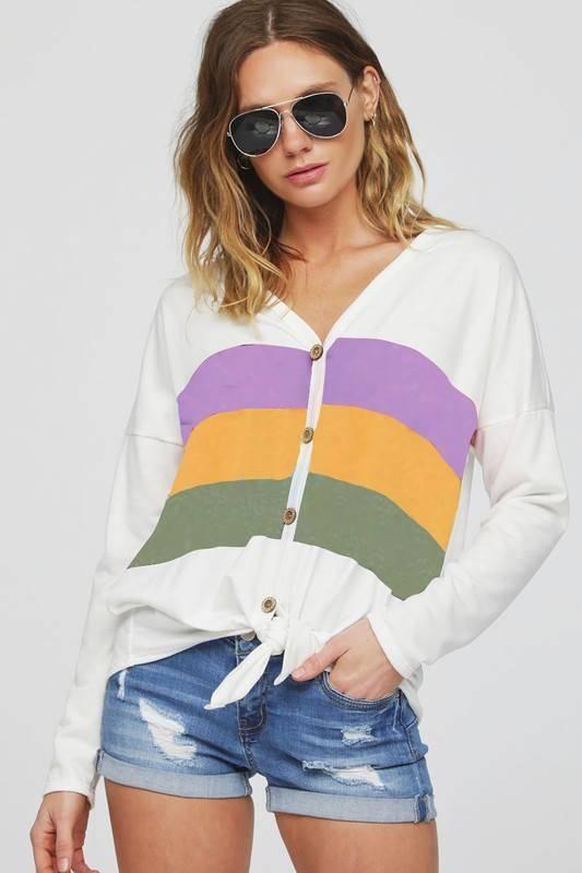 Mardi Gras Color Block Button Up, White