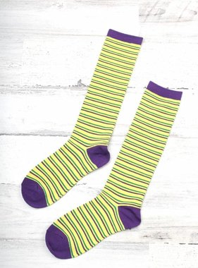 Fleurty Girl Mardi Gras Thin Stripe Socks