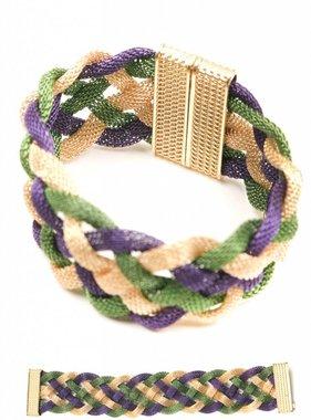 Mardi Gras Mesh Braided Magnetic Bracelet