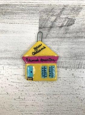French Quarter Shotgun Ornament, Yellow