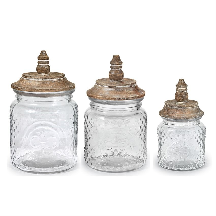 Glass fleur de lis Canister Set with Wood Top